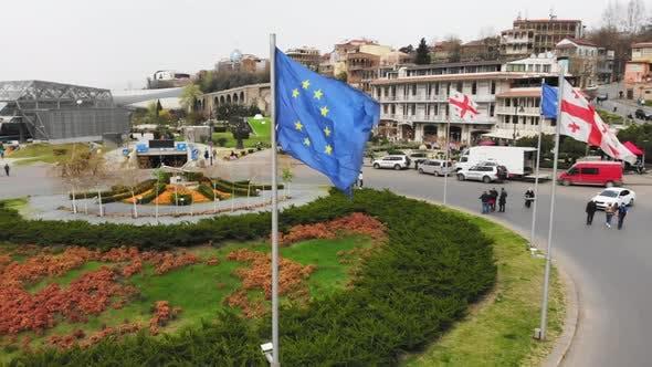 Es et Géorgie Drapeaux En Europe Square, Tbilissi