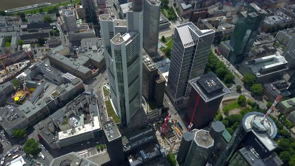 Thumbnail for AERIAL: Breathtaking Rising View of Frankfurt Am Main, Germany Skyline, Sunny with Overcast