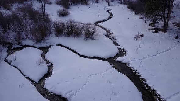 River or Stream Bighorn Mountains in Winter in Wyoming