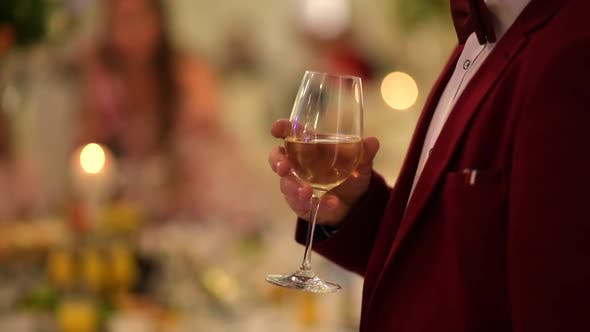 Thumbnail for Gentleman in Burgundy Tuxedo with Glass of Wine