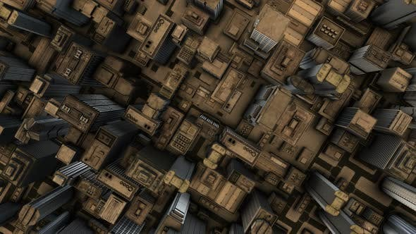 animation of a 3d city skyline afternoon