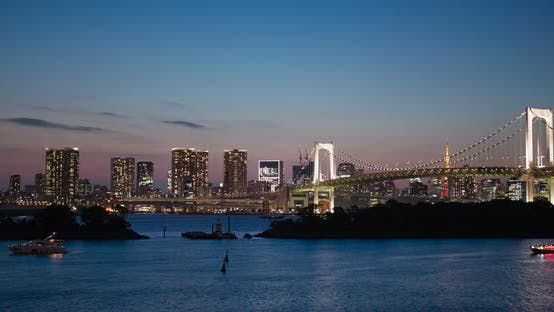 Thumbnail for Tokyo, Odaiba city landscape in the sunset time
