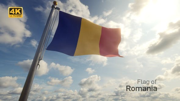 Romania Flag on a Flagpole - 4K