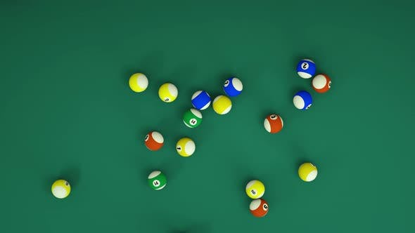 A lot of billiard balls roll across the table. Many Pool balls