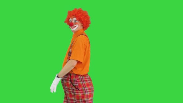Thumbnail for Clown Walking in and Saying Hello Waving His Hand To Camera on a Green Screen Chroma Key