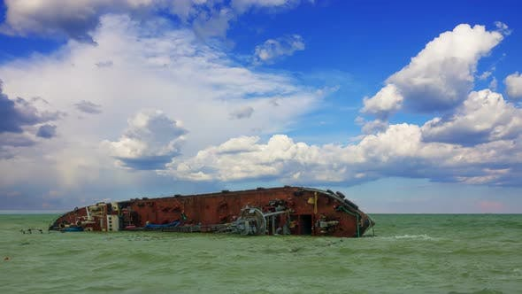 Thumbnail for Sunken Tanker Ship in the Sea After the Massive Storm