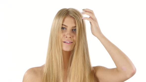 Thumbnail for Beautiful Blond Brushing Her Hair. Slow Motion. Close Up, Bathroom