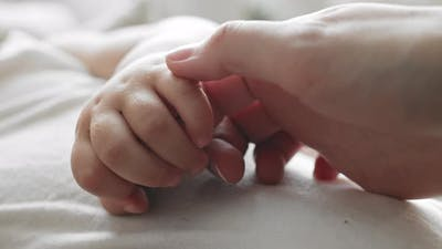 Hands of Mommy and Infant