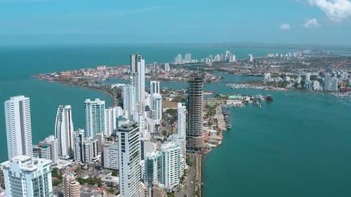 Aerial Footage of Cartagena Bocagrande