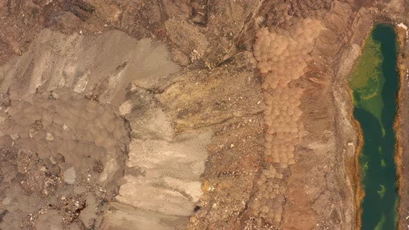 Thumbnail for Aerial View of Opencast Mining Quarry with Lots of Machinery at Work - View From Above. Slag Pit