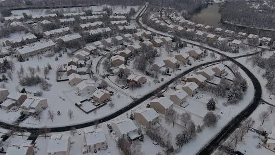 Wonderful Winter Scenery Roof Houses Covered Snow on the Aerial View with Residential Small Town
