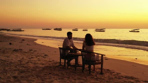 Thumbnail for Fun Lady and Man Married on Vacation Enjoy Luxury on Beach on Clean White Sand Background