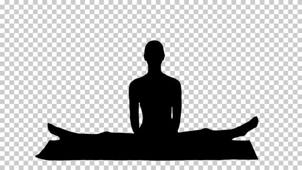Silhouette Woman sitting in the lotus position, Alpha Channel