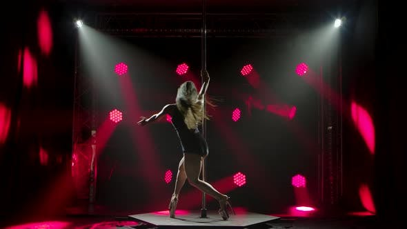 Thumbnail for Exotic Pole Dancer Performs in a Nightclub. A Slim Attractive Girl Is Silhouetted in the Lights of