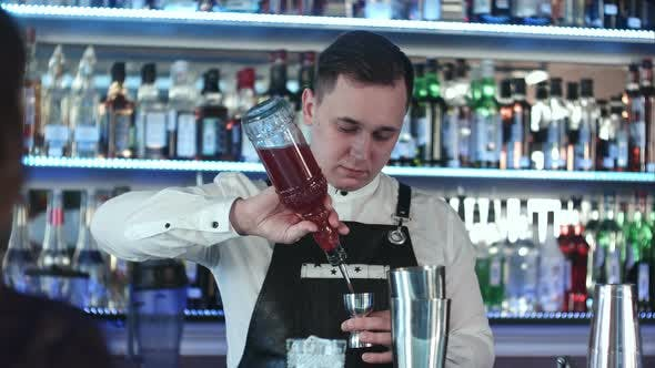 Thumbnail for Young Handsome Barman in Bar Interior Mixing Alcohol Cocktail