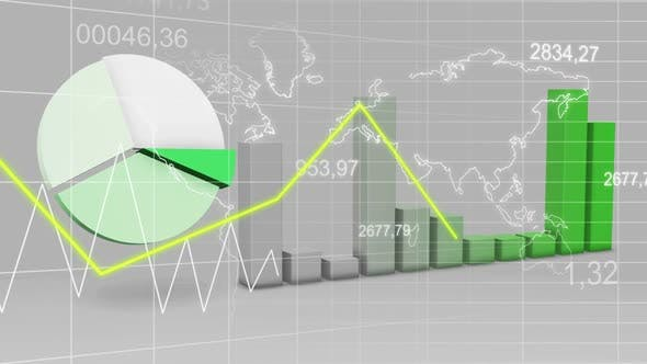 Thumbnail for World Map Statistic Data Graph Green Loop Finance Background