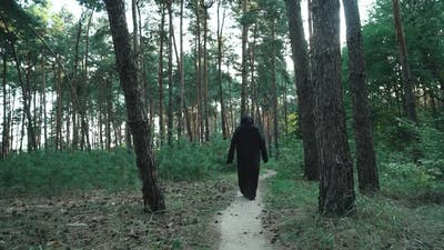 Ghost in the woods. Horror scene of a scary ghost