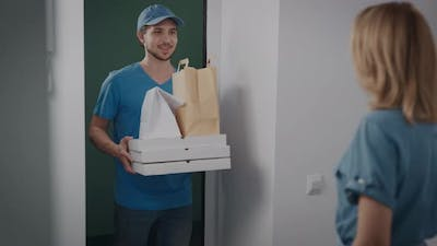 The Delivery Man Brought an Order with Food