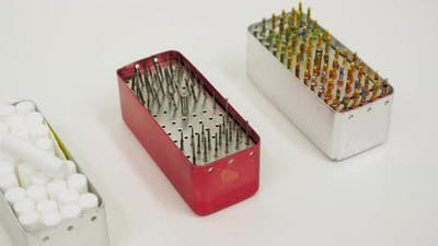 Boxes with dental instruments