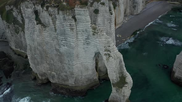 Thumbnail for Beautiful Etretat Cliff Arch Epic Establishing Aerial Drone Shot