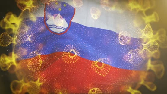 Slovenia Flag With Coronavirus Microbe Centered