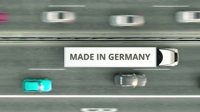 Semitrailer Trucks with MADE IN GERMANY Text