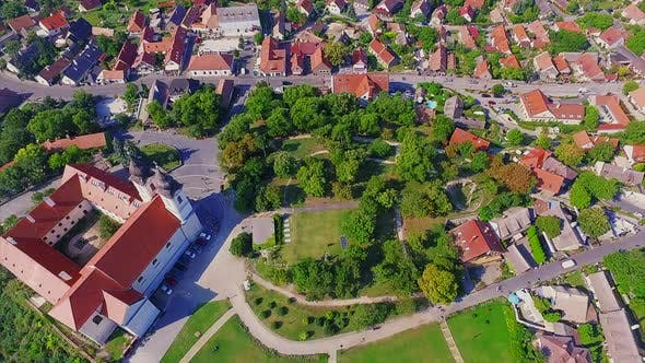 Thumbnail for Red Benedictine Monastery in summer ,Tihany, Aerial view of Hungary
