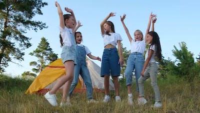Happy Kids Girls Playing Hide and Seek