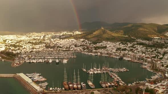 Aerial View of Bodrum Under the Rainbow Turkey