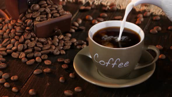 Thumbnail for Make Latte in Small Cup Which Is Filled Black Coffee