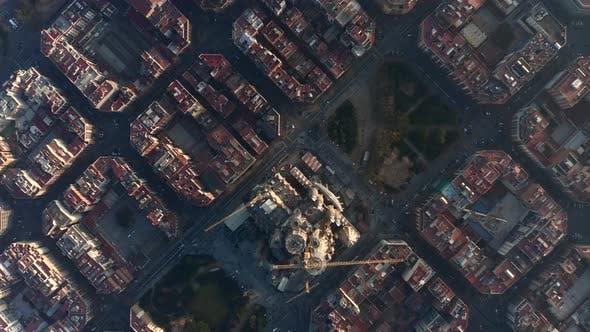 Thumbnail for AERIAL: Barcelona Overhead Drone Shot of Typical City Blocks and La Sagrada Familia in Beautiful