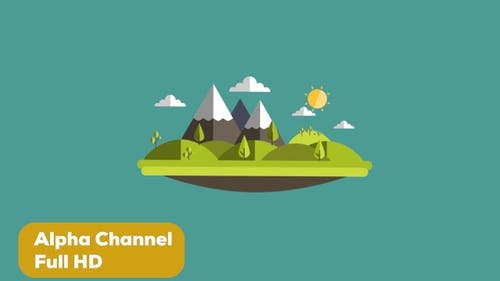 2D Cartoon Island Full HD Alpha Channel