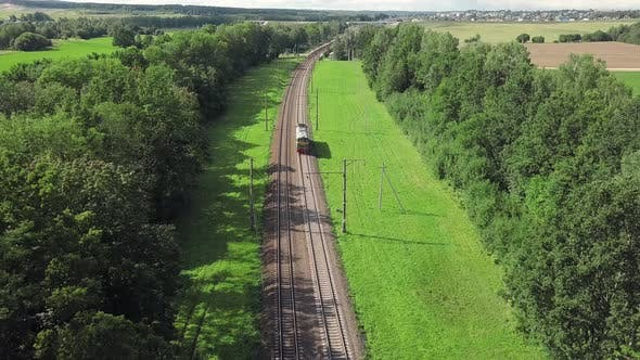 Thumbnail for Locomotive Train, Train on the Rails. Aerial