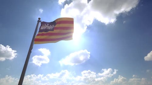 Balearic Islands Flag on a Flagpole V4