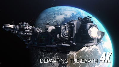 Space Ship Departing Earth 4K