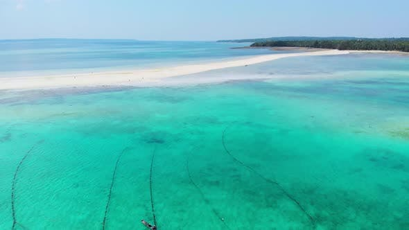Thumbnail for Aerial: tropical beach island reef caribbean sea white sand bar Snake Island, Indonesia Maluku