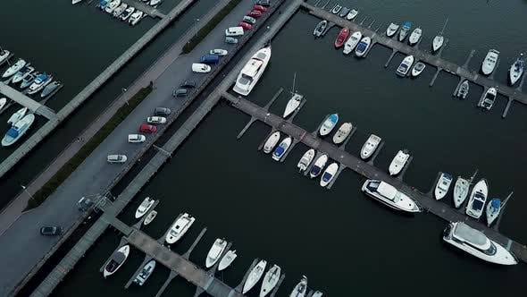 Thumbnail for Aerial View To the Luxe Sailboats in Maritime Station and Yacht Club