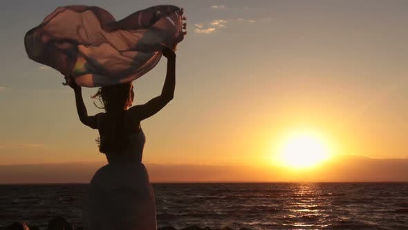 Thumbnail for Silhouette of Woman with Scarf on Beach at Sunset