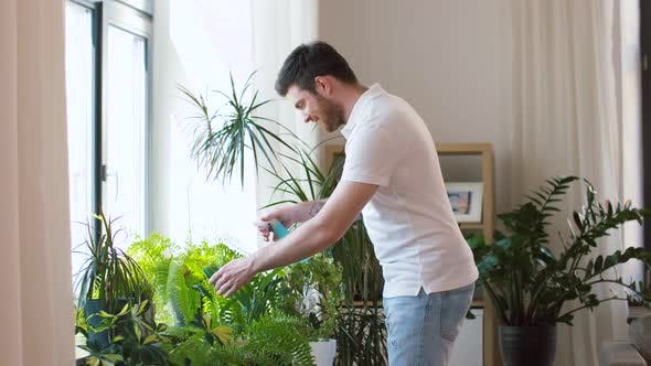 Thumbnail for Man Spraying Houseplants with Water at Home