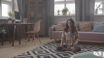 Meditation At Home On The Carpet