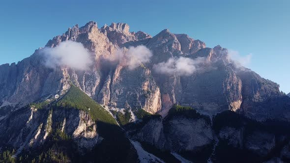 Astonishing Scenery of Italian Dolomites in Clouds