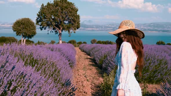 Beautiful Girl on the Lavender