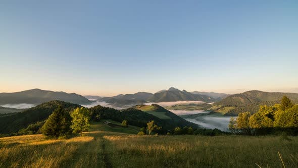 Thumbnail for Sunrise in Summer Morning in Rural Country with Fog in Nature Landscape Valley Mountains