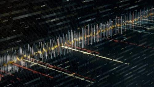 Audio sound waveform moving on black background