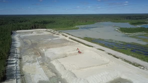 Thumbnail for Big Sand Pit and Digger Between Fores and Lakes Upper View