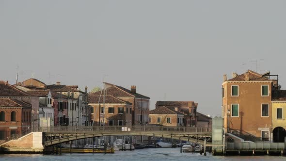 - Houses By Water in Venice, Italy, View From Sailing Boat