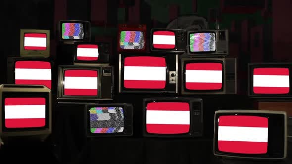 Flag of Austria and Many Old Televisions.