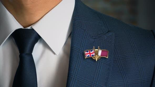 Thumbnail for Businessman Friend Flags Pin United Kingdom Qatar