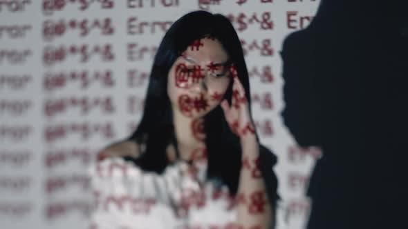Emotional Burnout Digital Error Tired Asian Woman