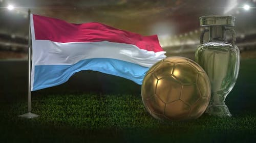 Luxembourg Flag With Football And Cup Background Loop